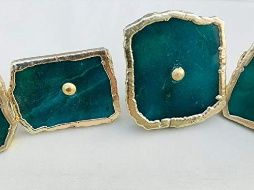 Set Agate Green (Set of 6 Emerald Green Agate Classic Vintage Finish Cabinet Drawer Pull Wardrobe Dresser Interior Decorative Handle)