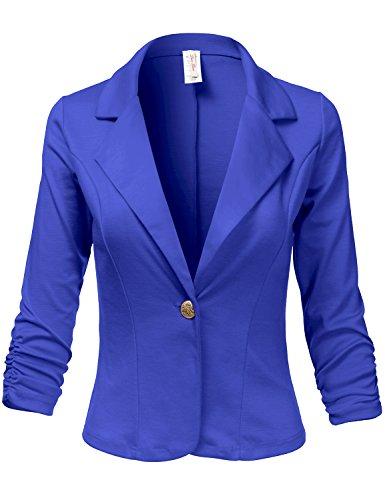 Plus+Size+3%2F4+Shirring+Sleeve+One+Button+Comfortable+Blazer