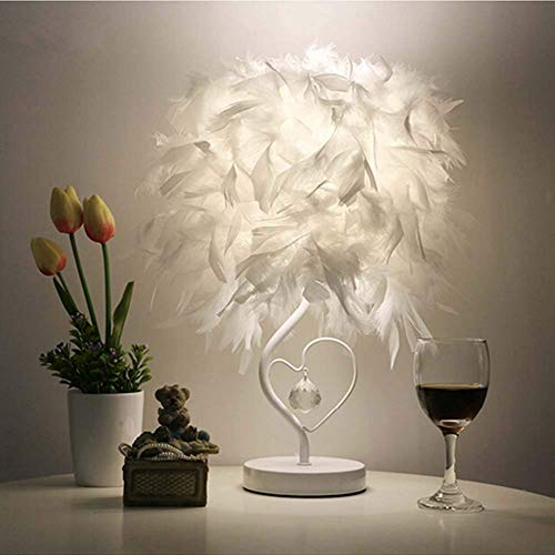 YAYONG Table Lamp Simple Fashion High-Grade Feather Crystal Shape Anchor Reading Bedroom Living Dimming Night Lights,dimming,13x23x25cm