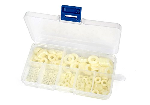 Z-Color 350pcs Nylon Washer Plastic Flat Spacer For M2/M2.5/M3/M4/M5/M6/M8 Screw/Bolt (White) (Nylon Washers Spacers compare prices)