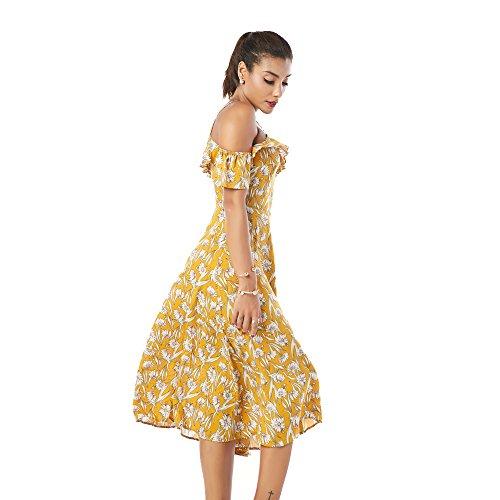 Jardin Beauté Femmes Vêtements Floraux Volants Imprimer La Robe De La Mode Épaule