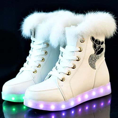 tamaño Más Radiantes Zapatos Conejo Colores Terciopelo Para De Usb 39 Blanco Invierno Botas Nieve Cálidas Piel Por Bestoyard Carga Mujer TZOwW