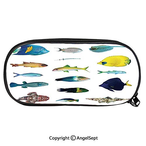 (Pencil CaseMarine Life Creatures with Cardinalfish Clownfish Stingray Fauna Sea Theme for Pen Holder with Zipper Children Back to School Big Capacity Pencil Pouch Student Sturdy Polyester Stationery)