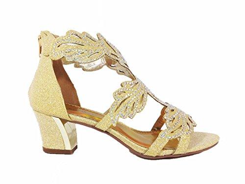 Lime03n Donna Open Toe Metà Tacco Matrimonio Strass Gladiatore Sandalo Con Zeppa Scarpe Oro