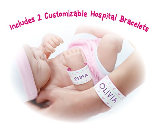 "JC Toys La Newborn Nursery 8 Piece Layette Baby Doll Gift Set, featuring 14"" Life-Like Original Newborn Doll, Pink"