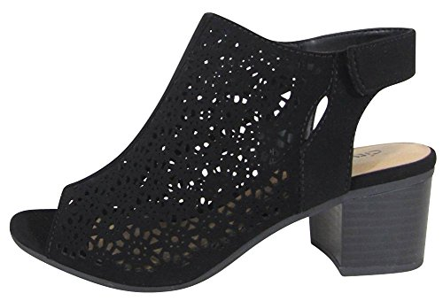 City Classified Footwear Women's Caged Geometric Laser Cut Out Peep Toe Slingback Chunky Stacked Heel Ankle Bootie (8 M US, Black NBPU)