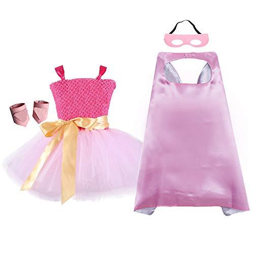 Pink Supergirl Infant Halloween Costume (AQTOPS Halloween Super Hero Dress Up Costumes Birthday Supergirl Costume for Girls Medium(3-4T))