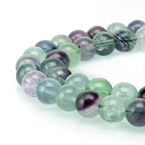 JARTC Natural Colored Fluorite Round Loose Beads for Jewelry Making DIY Bracelet Necklace (8mm)