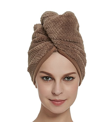 HOPESHINE Hair Towel Microfiber Soft Twist Hair Turban Wrap Fast Drying Cap Great Gift for Women(Brown) - How To Wrap Long Hair