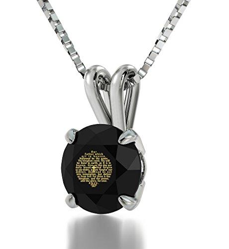 "925 Sterling Silver Lord's Prayer Necklace Christian Pendant King James Version Inscribed in 24k Gold on Swarovski Crystal, 18"" NanoStyle Jewelry"