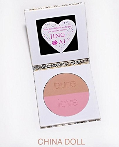 Compact Mirror & Blush Makeup Palette For Purses By Jing Ai Cosmetics - 2 Shades For Light, Medium, Dark Skin Benefit All Face Complexions Paraben Gluten & Cruelty Free Vegan Formula (China Doll) (Bare Minerals Vintage Peach Blush compare prices)