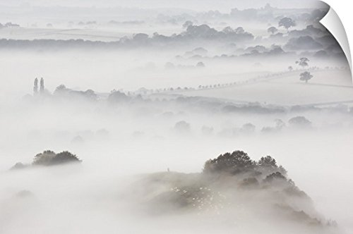 Canvas On Demand Wall Peel Wall Art Print entitled Wearyall Hill from Glastonbury Tor, Somerset, UK by Canvas on Demand