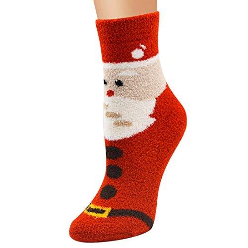 2017 Clearance! Todaies Unisex Christmas Casual Men Soft Breathable Warm Coral Velvet Women Santa Snowman Socks (Free Size,24cm, D)