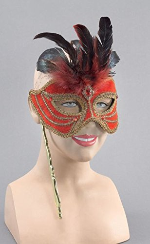 Red Eye Mask With Tall Feathers On Stick (Red Eye Mask)