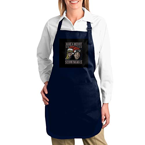 ANZIKEJI Merry Schwingmas Christmas Waynes World Heavy Duty Canvas Work Apron,Tool Pockets, Back Straps Adjustable