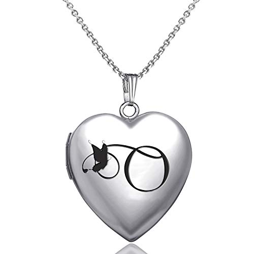 MUERDOU Locket Necklace That Holds Pictures Initial Alphabet Letter Heart Shaped Photo Memory Locket Pendant Necklace (O)