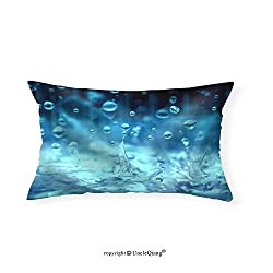 VROSELV Custom pillowcasesBlue Color Tone of Close Up Rain Water Drop Falling to the Floor in Rainy Season - Fabric Home Decor(20x30)