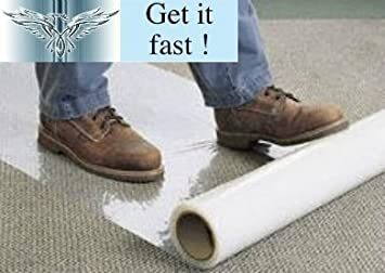 2 Rolls Of 10m X 60cm Clear Polythene Self Adhesive Carpet Protector Film  Free Express.