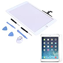 HDE Replacement Front Glass Digitizer Touch Screen for iPad Air + Tool Kit + Adhesive Tape + Screen Protector (White)
