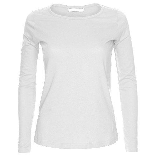 Camiseta de manga larga para mujer, cuello redondo, diseño liso Blanco