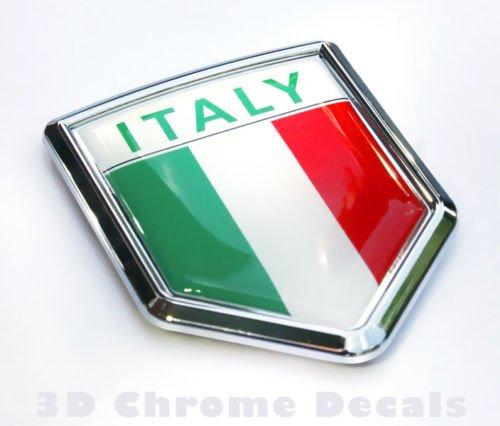 Italy Italian Flag Car Chrome Emblem Decal 3D Sticker