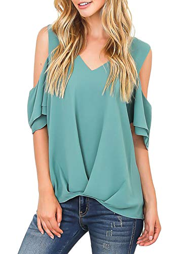 HOTAPEI Womens Summer Casual Short Sleeve V Neck Cold Cut Out Shoulder Drape Front Chiffon Tunic Blouses Tops T Shirts Green XX-Large