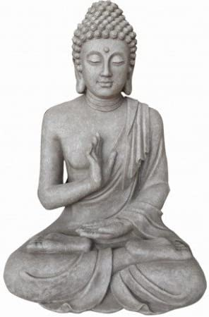 Stone-Lite - Figura - Buda Justicia - Resistente a la Intemperie - Gris - 30 cm: Amazon.es: Jardín