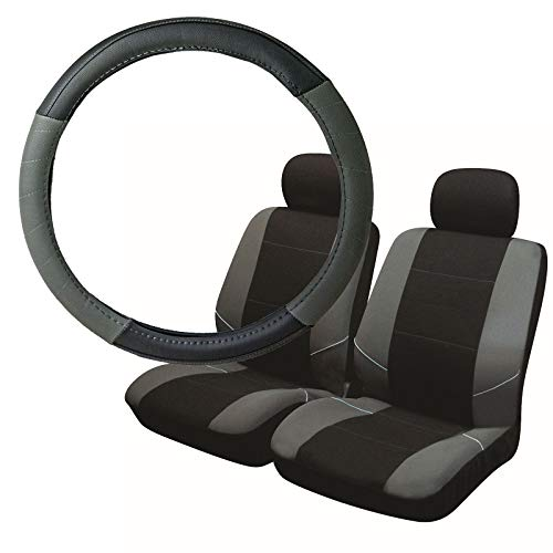 UKB4C Grey & Black Steering Wheel & Front Seat Cover set for Saab 9-5 95 All Models: