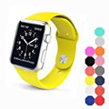 XIYA Soft Silicone Replacement Sport Band for Apple Watch for 2 Lengths, Yellow,42mm