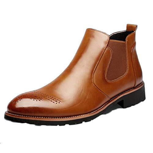 snfgoij Chelsea Boots Uomo Nero Pelle Matrimonio Sicurezza Brogue Classico Stivaletti Primavera Bullock Intagliato Scarpe Alte Casual Brown