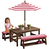 KidKraft Table, Bench Set Pink & White Outdoor Furniture