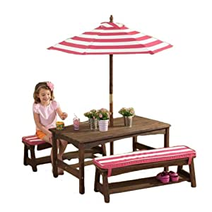 Charming KidKraft Table, Bench Set Pink U0026 White Outdoor Furniture