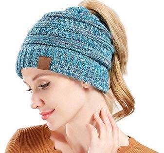 Hapahabie Moda Selvaggia Blu Tibetano Beige Nuovo Colore Misto Cappello a Maglia etichettatura Vendita Calda Cappello Coda di Cavallo Cappello da Donna CC