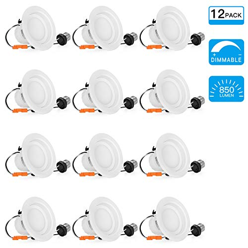 SGL 12-Pack 4 Inch Dimmable LED Recessed Lighting, 9W (65W Replacement), 5000K Daylight White, 850Lm, LED Downlight