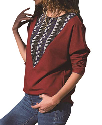 Pulls Femme Hauts shirts Printemps Tops Tee Col Shirts Sweat T Rouge Patchwork et Automne Femmes Rond T Fashion Shirt Manches Jumper OUFour Blouse Longues B0qAdB