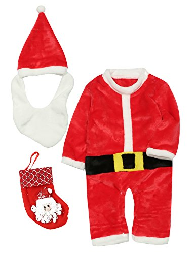 Funny Baby Costumes (Truly One Christmas Baby Boys' Girls' Santa Claus Costume 4PCS Outfit Set Romper Funny Hat With Beard and Candy Sock (18-24 Months))