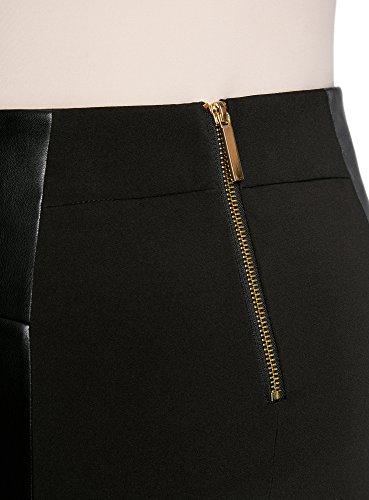 con in e Inserti Nero Collection Ecopelle Zip 2900n Gonna Donna Decorative oodji ntR8U