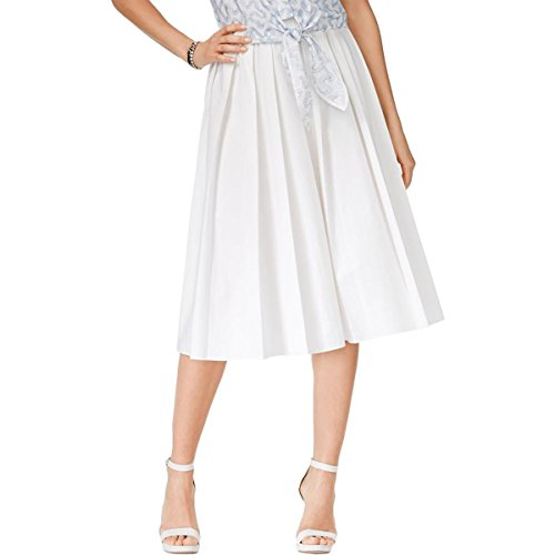 MICHAEL Michael Kors Womens Pleated Mid-Calf A-Line Skirt White L