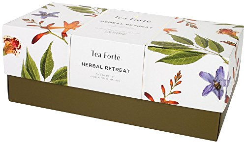 Tea Forte Herbal Retreat Presentation Box, Handcrafted Pyramid Tea Infusers, Relaxing Herbal Tea, 20 Count