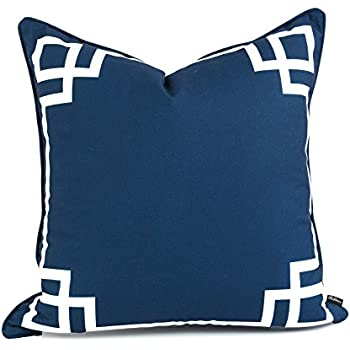 Hofdeco Decorative Throw Pillow Cover Indoor Outdoor Water Resistant Canvas Spring Navy Blue Greek Key 20