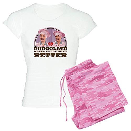 (CafePress I Love Lucy: Chocolate Makes E Pajamas Womens Novelty Cotton Pajama Set, Comfortable PJ Sleepwear )