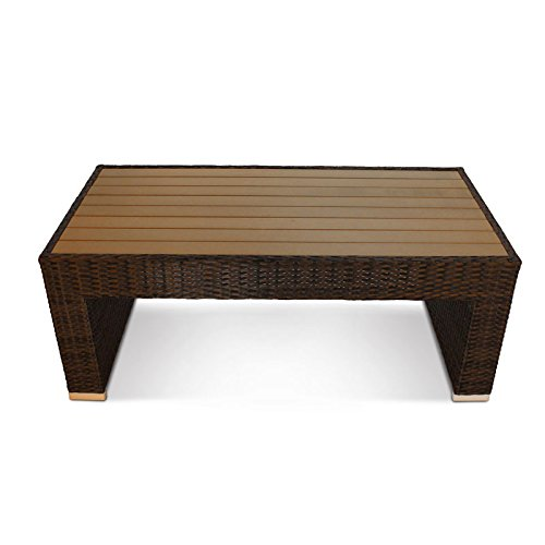 Denby Luxury Rattan Outdoor Coffee Table with Plaswood Table Top - Rectangular Patio Table 116x60x45cm BrackenStyle