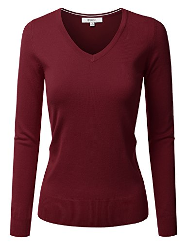 DRESSIS Womens Classic Long Sleeve V-Neck Knit Sweater Top DARKBURGUNDY L by DRESSIS