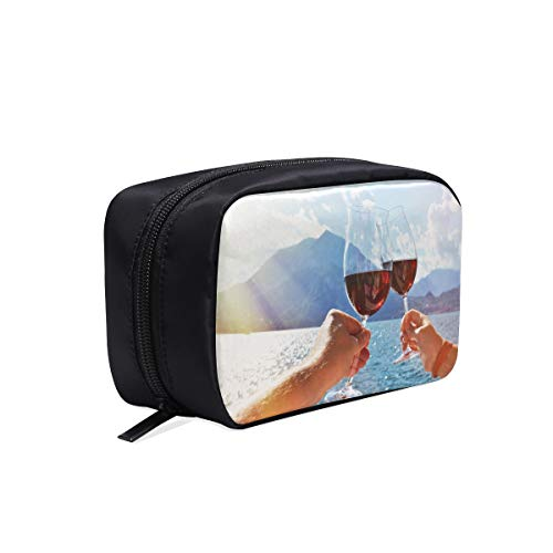 (Cheers With Two Glasses In Hand Portable Travel Makeup Cosmetic Bags Organizer Multifunction Case Small Toiletry Bags For Women And Men Brushes Case )