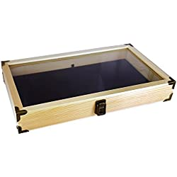 Mooca Wood Tempered Glass Oak Jewelry Display Case With Velvet Padding and Brass Corners Craft Box