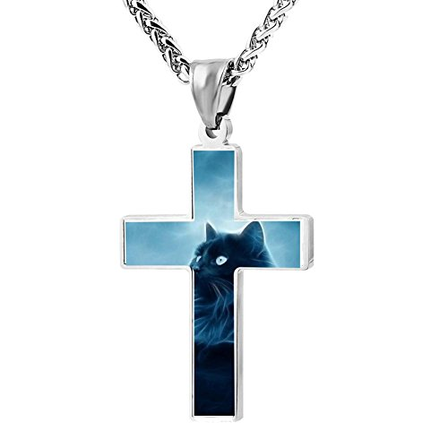 Gjghsj2 Cross Necklace Pendant Religious Jewelry Fantasy cats For Men Wome -
