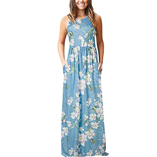 TUSANG Women Skirts Sleeveless Pocket Casual Floral Print Beach Long Maxi Loose Dress Slim Fit Comfy Dress(G-Light Blue,US-8/CN-L)