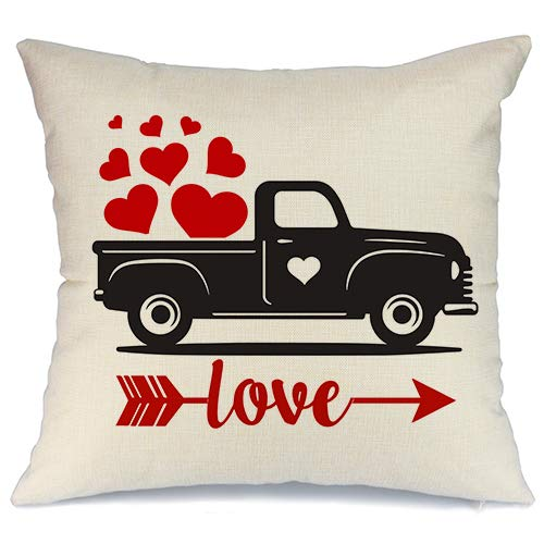 AENEY Valentines Pillow Cover 18x18 for Couch Truck Hot Love Red Sweet Heart Arrow Happy Valentines Day Decorations Throw Pillow Home Decor Pillowcase Faux Linen Cushion Case Sofa
