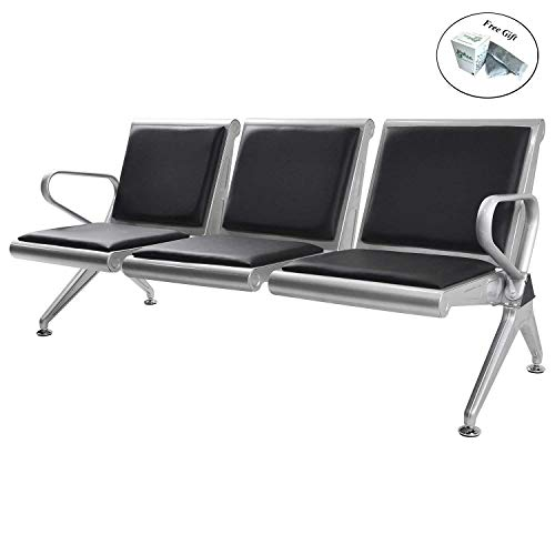 (3 Seat Airport Office Reception Bench Waiting Chair Black PVC Cushion + FREE E-Book)