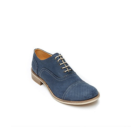 British Passport Scarpa Stringata Francesina con Decorazione Toe Cap di Colore Blu. Toe Cap Oxford Navy. Donna.
